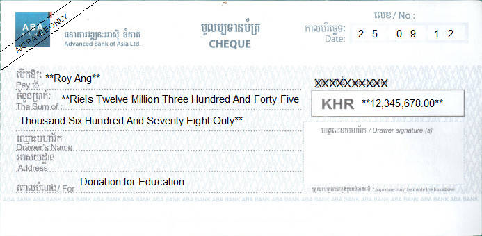 Printed Cheque of ABA - Advanced Bank of Asia (KHR) in Cambodia