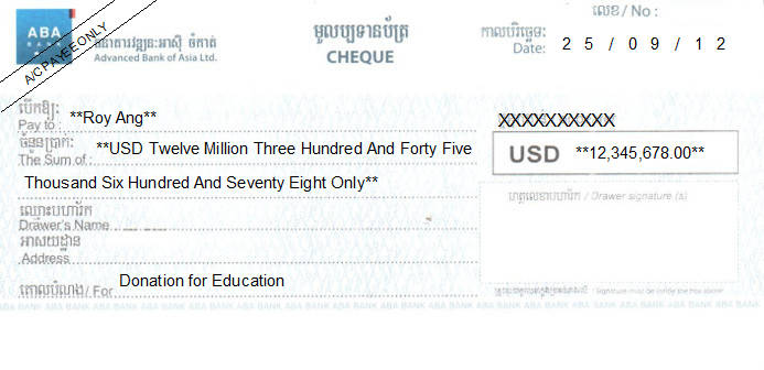 Printed Cheque of ABA - Advanced Bank of Asia (USD) in Cambodia