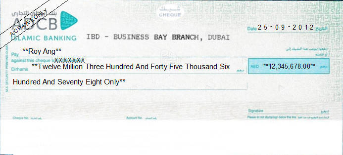 Printed Cheque of Abu Dhabi Commercial Bank (ADCB) Islamic Banking (Business Choice Account) UAE