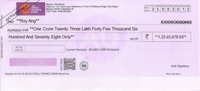 Printed Cheque of AU Small Finance Bank in India