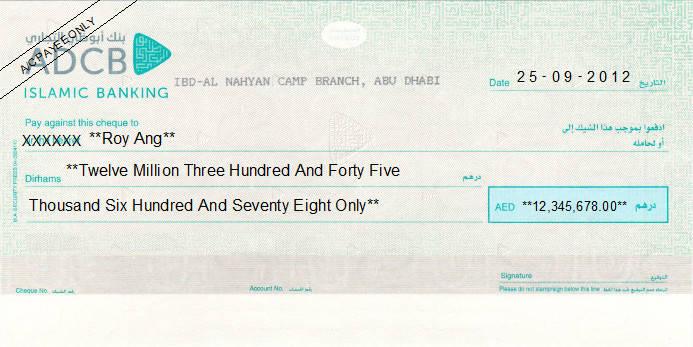 Printed Cheque of Abu Dhabi Commercial Bank (ADCB) Islamic Banking UAE