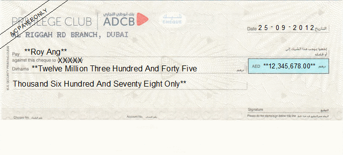 Printed Cheque of Abu Dhabi Commercial Bank - ADCB (Privilege Club) in UAE