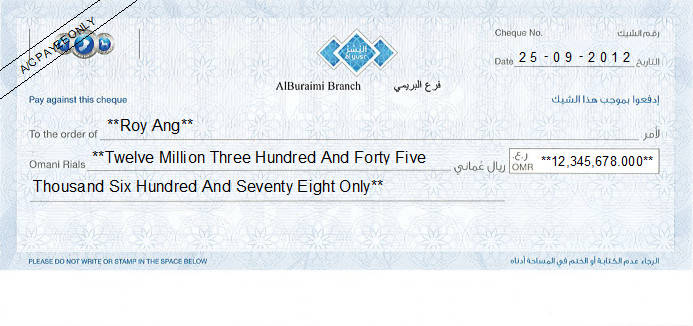 Printed Cheque of Al Yusr Islamic Banking in Oman