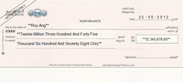 Printed Cheque of Arab Bank in Qatar