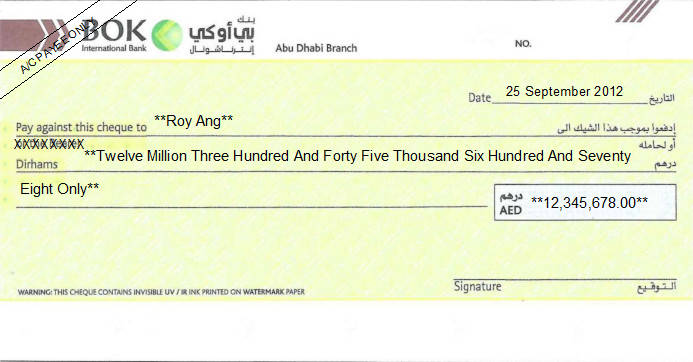 Printed Cheque of BOK International Bank in UAE