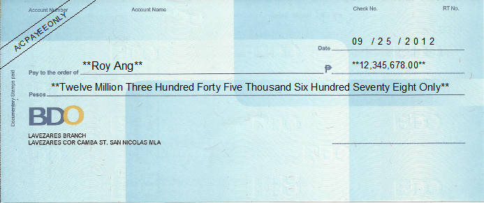 Printed Cheque of BDO Bank - Banco de Oro (Personal) in Philippines