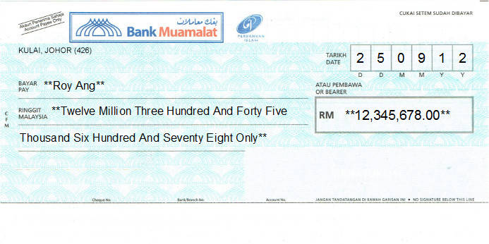 Printed Cheque of Bank Muamalat in Malaysia