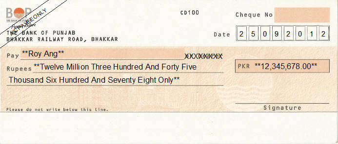 Printed Cheque of The Bank of Punjab (BOP) Pakistan