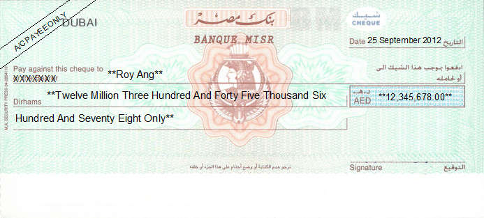 Printed Cheque of Banque Misr in UAE