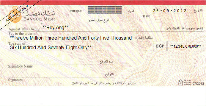 Printed Cheque of Banque Misr in Egypt