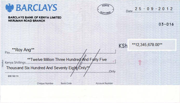 Printed Cheque of Barclays Bank of Kenya