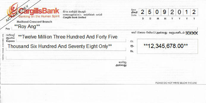 Printed Cheque of Cargills Bank in Sri Lanka