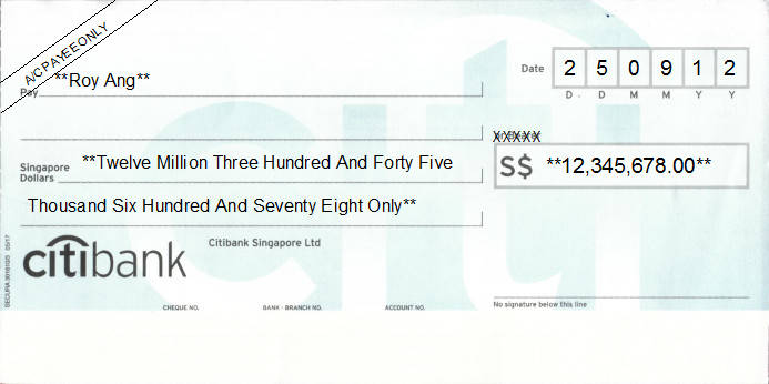 Printed Cheque of Citibank Singapore