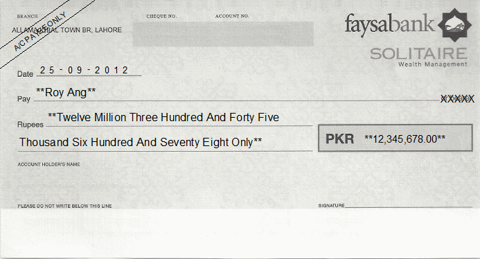 Printed Cheque of Faysal Bank Solitaire Pakistan