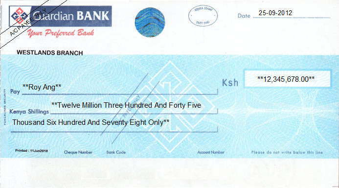 Printed Cheque of Guardian Bank in Kenya