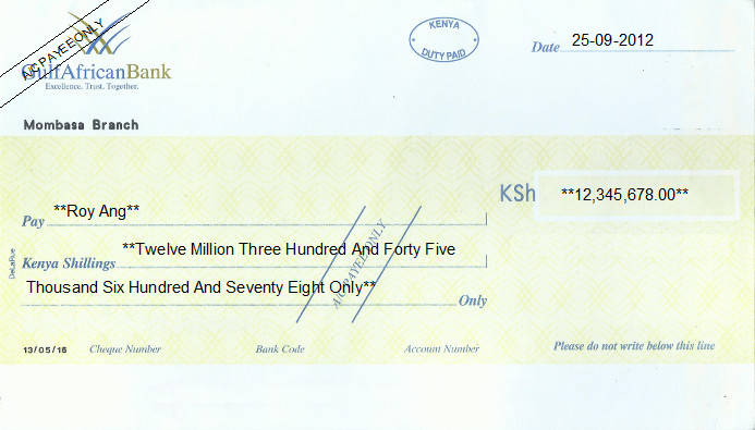 Printed Cheque of Gulf African Bank in Kenya
