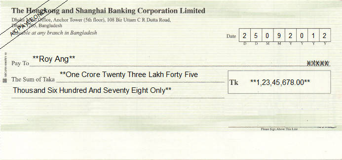 Printed Cheque of HSBC Bank in Bangladesh