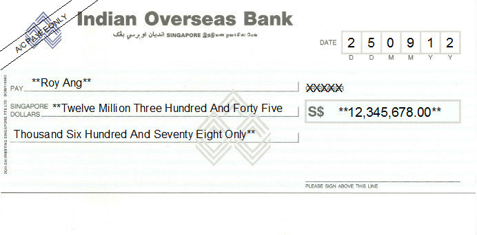 Printed Cheque of Indian Overseas Bank Singapore
