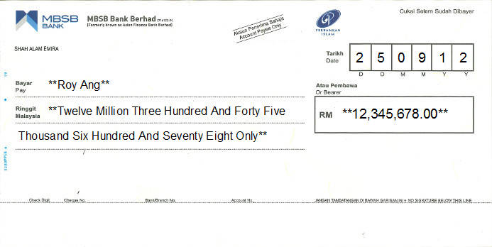 Printed Cheque of MBSB Bank in Malaysia