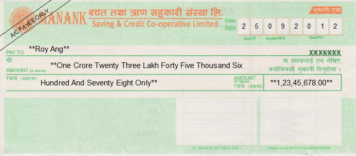 Printed Cheque of Manank Saving & Credit Co-operative Limited in Nepal