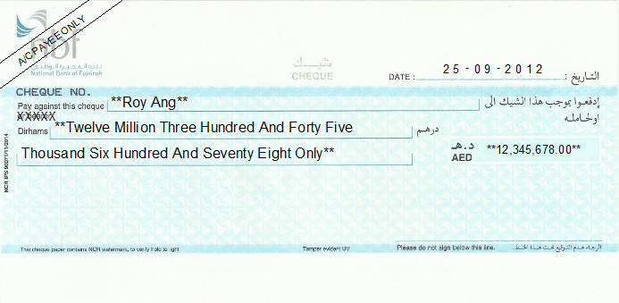 Printed Cheque of National Bank of Fujairah UAE