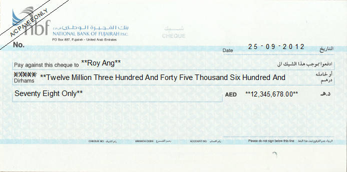 Printed Cheque of NBF (Current) in UAE