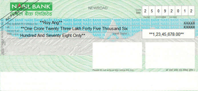 Printed Cheque of Nabil Bank in Nepal