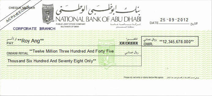 Printed Cheque of National Bank of Abu Dhabi in Oman