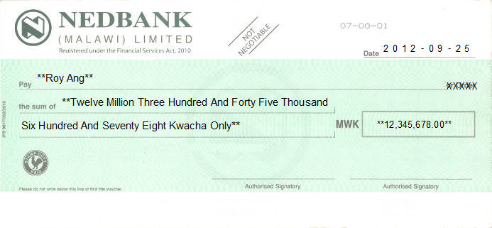 Printed Cheque of Nedbank in Malawi
