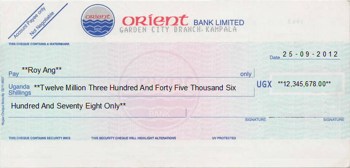 Printed Cheque of Orient Bank (UGX) in Uganda