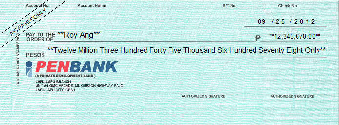 Printed Cheque of Penbank Philippines