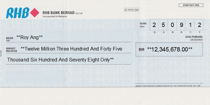 Printed Cheque of RHB Bank in Malaysia