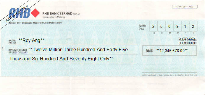 Printed Cheque of RHB Bank (Personal) in Brunei