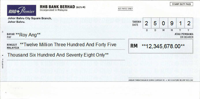 Printed Cheque of RHB Bank - Premier in Malaysia