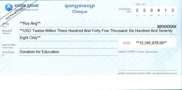 Printed Cheque of Sathapana Bank (USD) in Cambodia