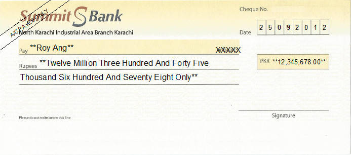 Printed Cheque of Summit Bank Pakistan