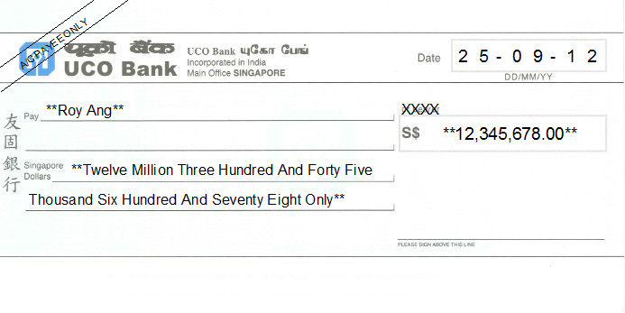 Printed Cheque of UCO Bank Singapore