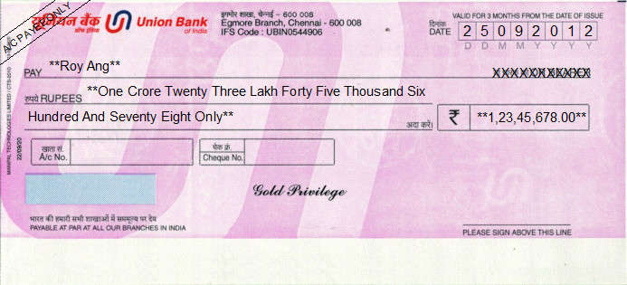 Printed Cheque of Union Bank - Gold Privilege in India