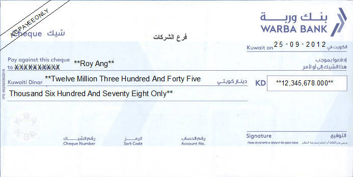 Printed Cheque of Warba Bank in Kuwait